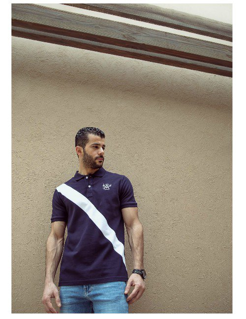Navy Blue Diagonal Polo Shirt.