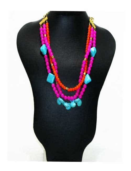 Pink- Blue Stones  Necklace