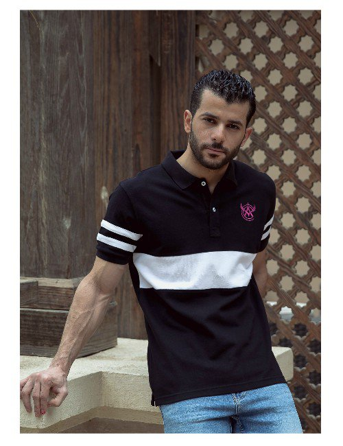 Black With White Stripes Polo Shirt.