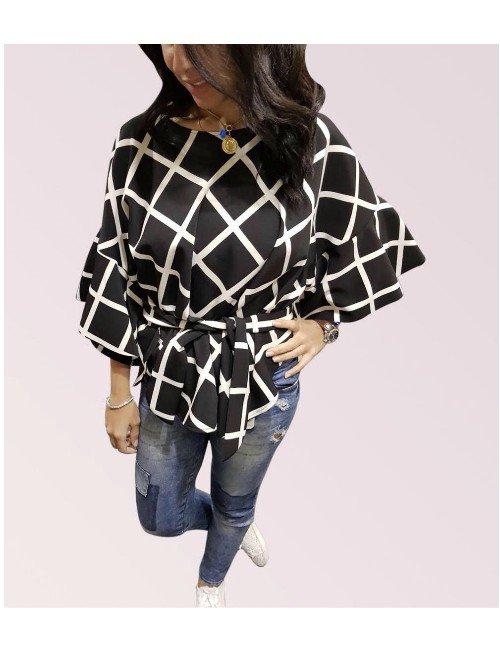 CHECKERED BLACK X WHITE BLOUSE