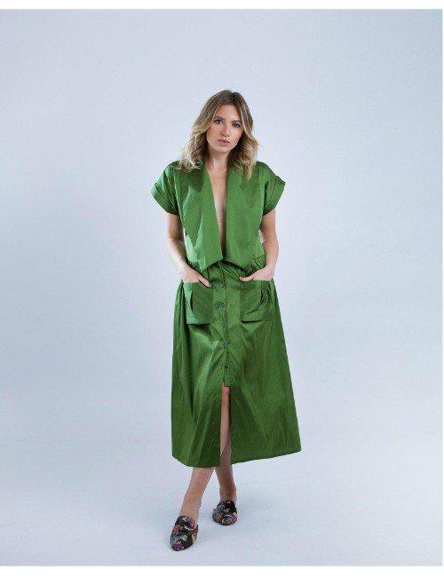 GREEN DRESS- LONG SHIRT
