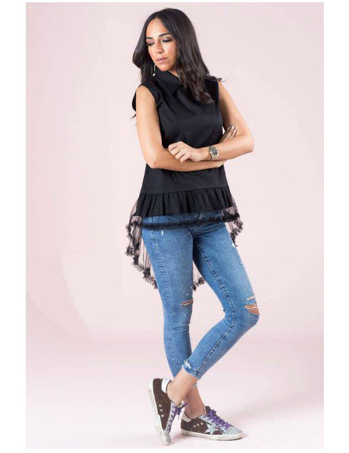 BLACK POPLIN FABRIC TOP WITH TULLE