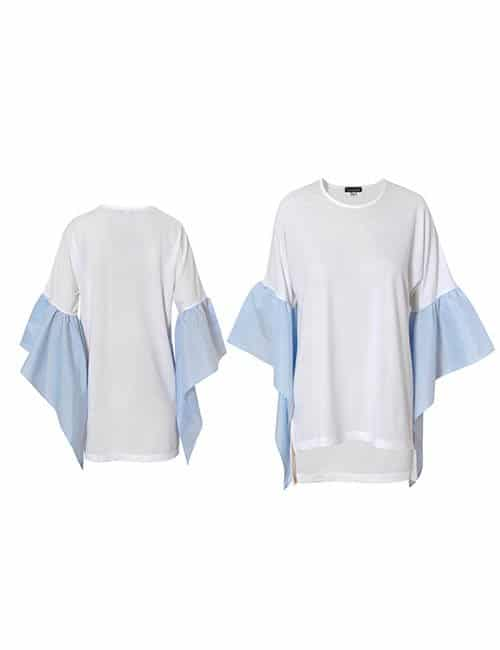 RUFFLED SLEEVES T SHIRT