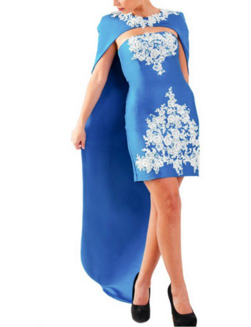 2 PIECES CAPE DRESS – SKY BLUE