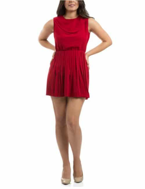 ACCORDION PLEATED DRESS – RED