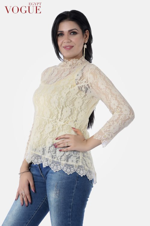 Vogue Egypt Long Sleeves Shiny Lace Twins