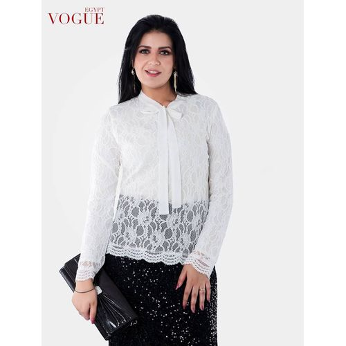 Lace Blouse With Chiffon Tie And Lycra Interlining