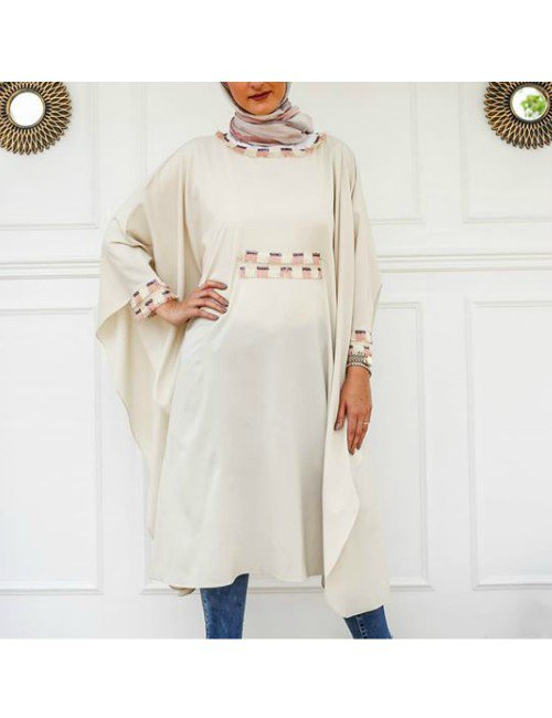 LONG BEIGE COVER UP KAFTAN WITH SEQUINS