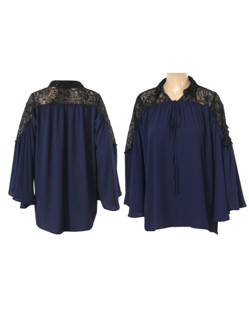 LACED SHOULDERS CHIFFON BLOUSE