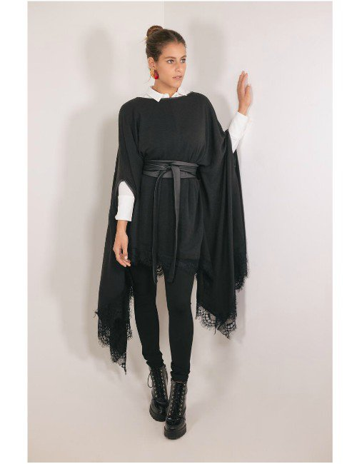 LACE TRIMMED WOOL PONCHO, BLACK
