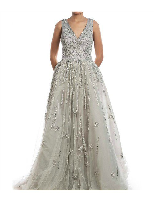 SILVER EMBROIDERED BALL GOWN