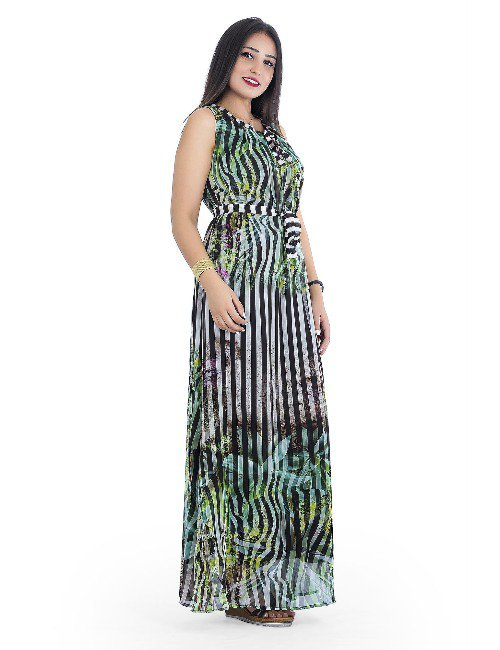 PRINTED CHIFFON DRESS WITH LINING