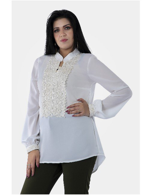LONG SLEEVES CREPE BLOUSE WITH LACE