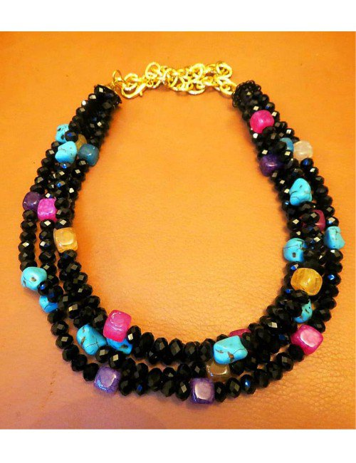 BLACK 3 LEVELS NECKLACE