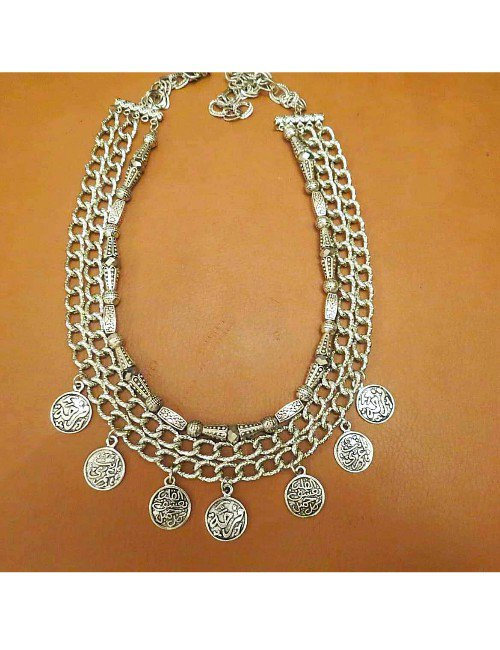 SILVER 3 LEVELS NECKLACE