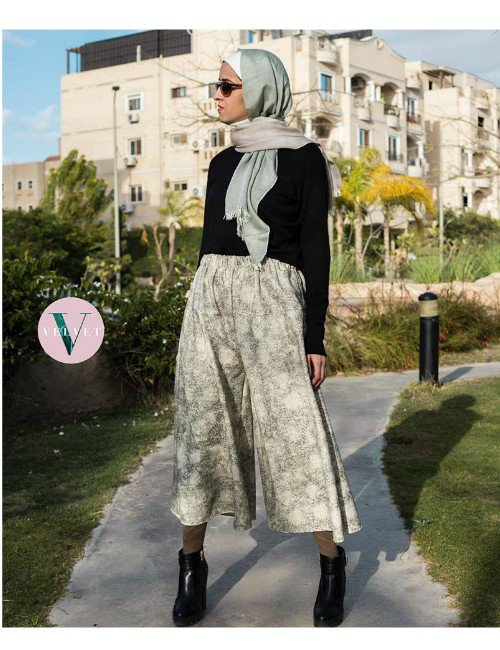 PRINT LEATHER WIDE LEG PANTS