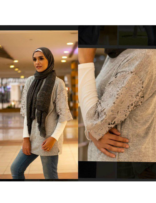 GREY SHIRT WITH DETAILS ON THE SLEEVES