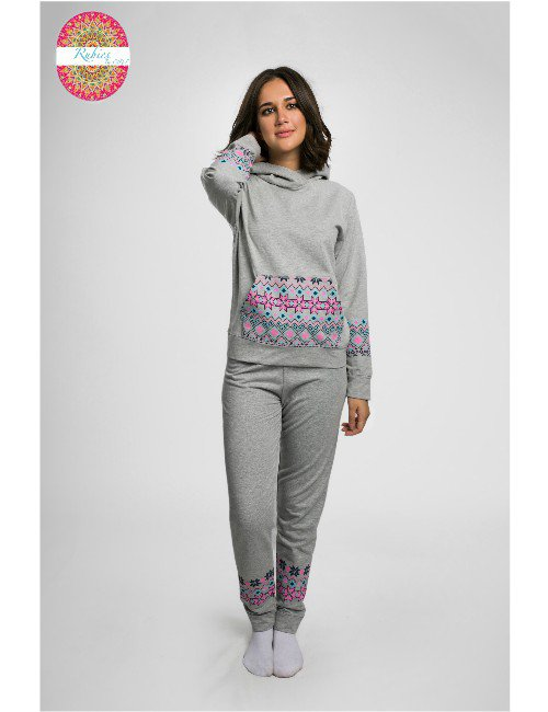GREY MELTON WITH PRINTED TOP AND BOTTOM