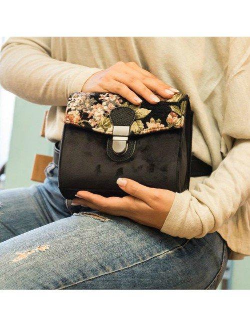 BLACK VELVET BAG WITH FLOWERY