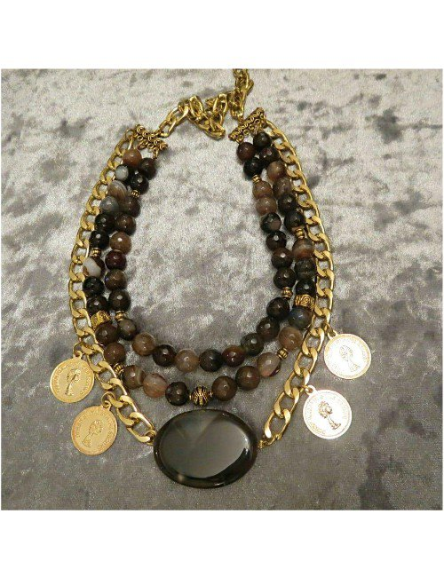 BROWN STONES NECKLACE