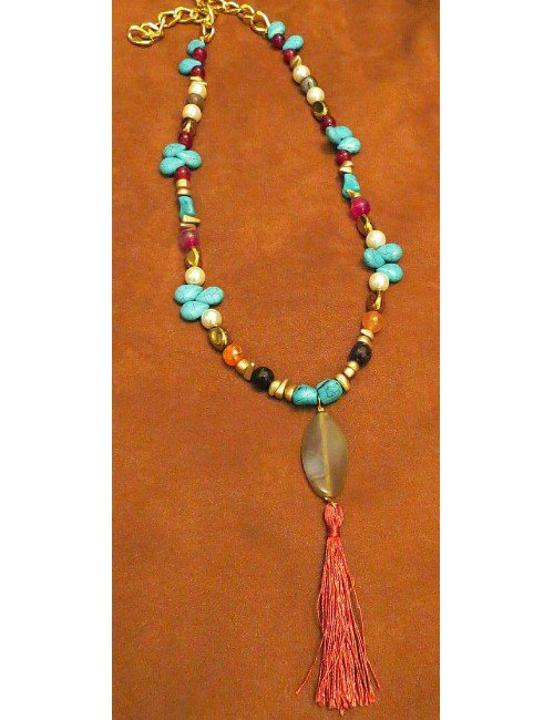 LONG STONES NECKLACE WITH TASSEL