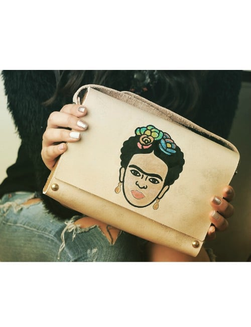 LEATHER WOODEN HAND PAINTED CLUTCH