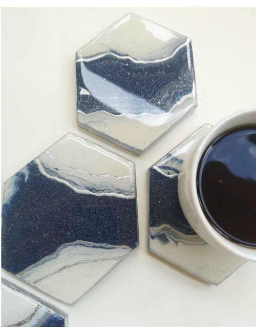 BLUE HEXAGONS COASTERS