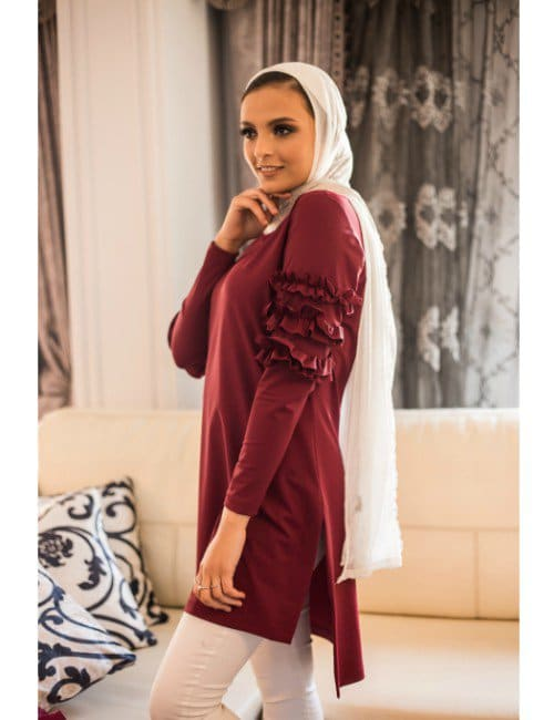 LONG SCUBA BLOUSE WITH HORIZONTAL RUFFLLES