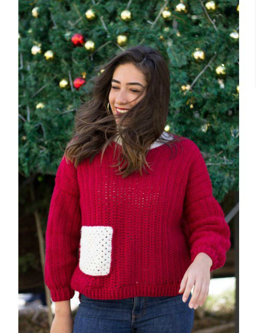 RED OVERSIZED PULLOVER