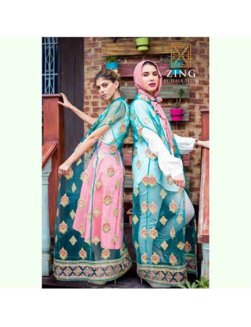 TULLE KAFTAN WITH SILK EMBROIDERY
