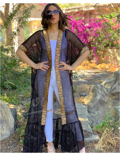 BLACK NET BISHT WITH GOLD GALLON