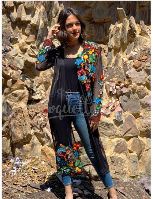 TULLE CARDIGAN WITH FLOWERS PATCHES