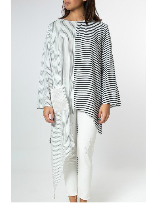 ASYMMETRIC STRIPPED TOP WITH SILVER POCKET