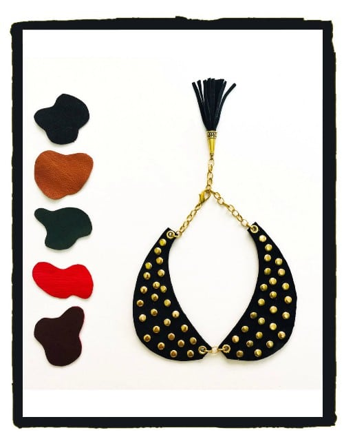 REAL LEATHER PETER PAN COLLAR NECKLACE WITH GOLD STUDS