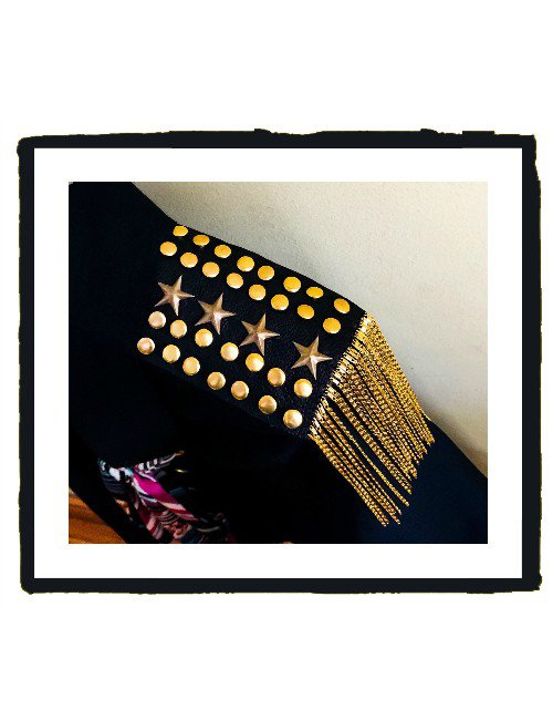 GOAT SKIN LEATHER EPAULETTES WITH GOLD STUDS, STARS & CHINESE GOLD CHAINS TASSELS