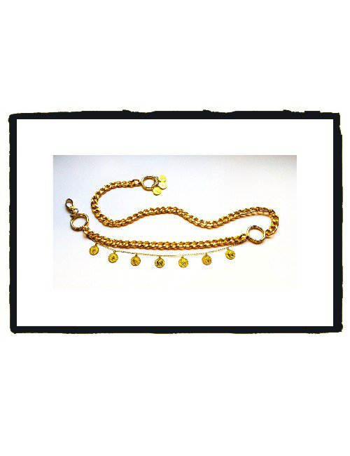 GOLD LAYERED CHAINS BELT WITH COINS