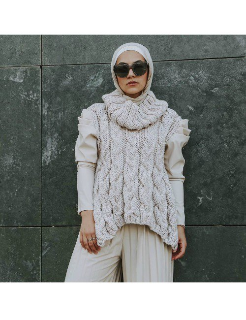 KNIT LEATHER PUFFY SLEEVES PULLOVER