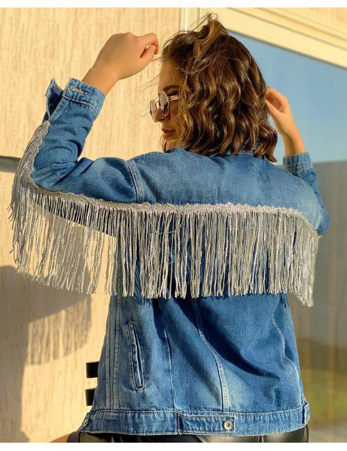 JEANS JACKET WITH FRINGES