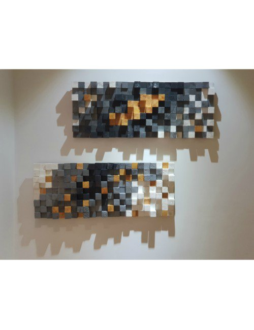 A SET OF TWO MODERN 3D WALL WOOD ART