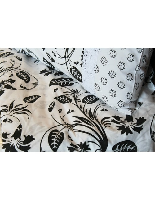 Black and white Floral BED SHEET