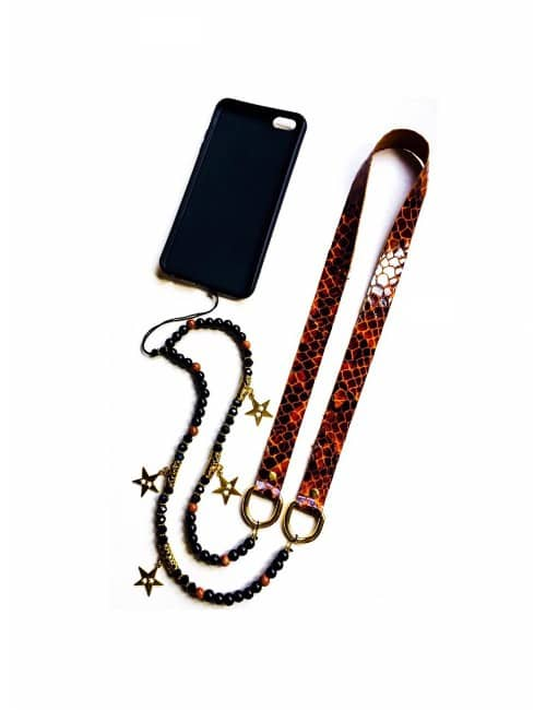 MOBILE HOLDER CHAIN WITH NATURAL LEATHER