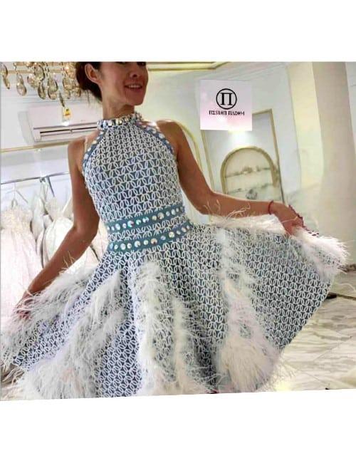 SHORT DRESS (WHITE & LIGHT BLUE )