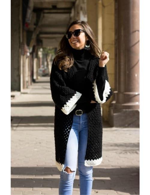 Black Long Hexagon Kimono