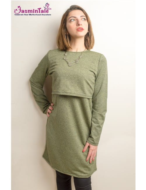 DARK GREEN SUMMER MELTON COTTON TOP