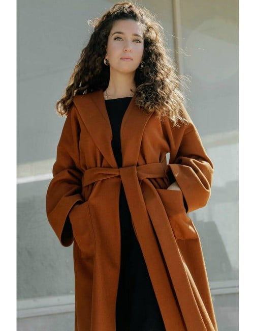Caramel Brown midi trench coat