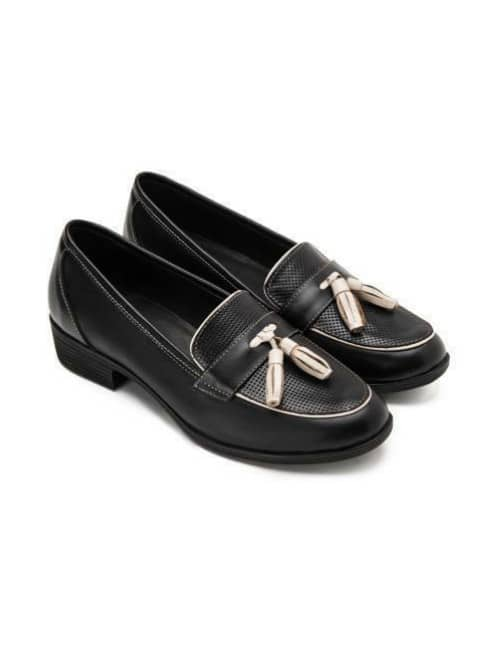 A stylish black loafer
