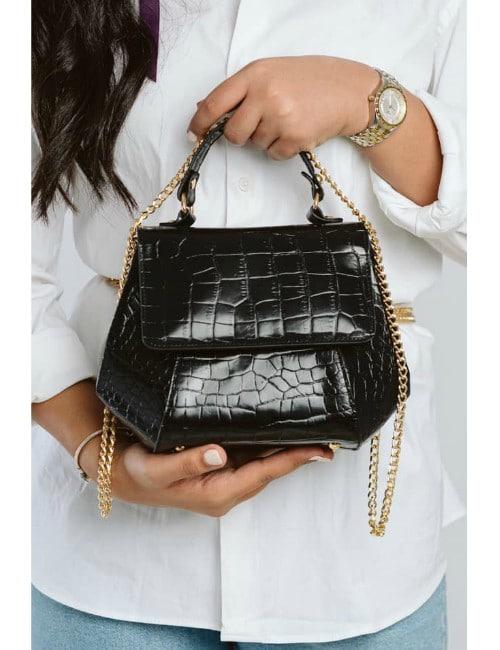Black Genuine Leather crocodile print