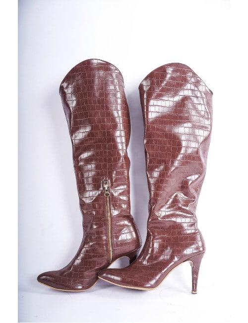 Crocodile print boots