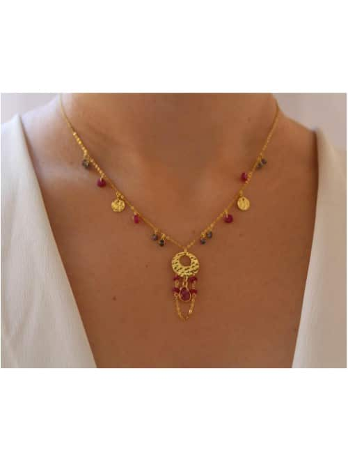 Ruby statement gold necklace