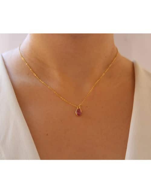 Ruby birthstone necklace